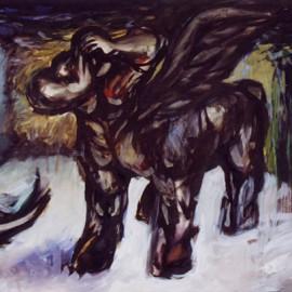 """Centaurus (1997), tempera on paper, 34""""x24"""""""