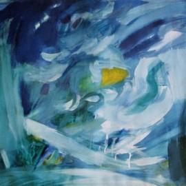 "Calming (1996), tempera on paper, 34""x24"""