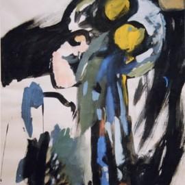 "Portrait II (1994), tempera on paper, 40""x28.8"""