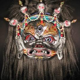 """Mahakala (silver), acrylic on paper maché, hand beaded ornaments, horsehair, 14""""x16""""x4"""""""