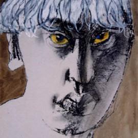 """Self Portrait (1993), color chalk on paper, 9""""x14"""""""
