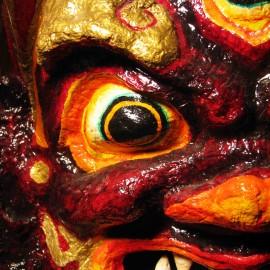 "Dagiraza - detail, acrylic on paper maché, hand beaded ornaments, horsehair, 14""x16""x4"""