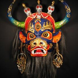 "Yama, acrylic on paper maché, hand beaded ornaments, horsehair, 14""x16""x9"""