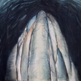 "Abo (1990), tempera on paper, 40""x28.8"""