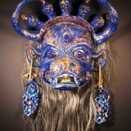 "Yama (mute), acrylic on paper maché, horsehair, 14""x16""x9"""