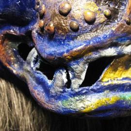 "Yama (mute) - detail, acrylic on paper maché, horsehair, 14""x16""x9"""