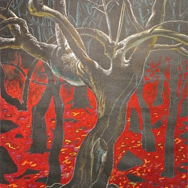 """Mythical Forest (2008), oil pastel and acrylic on paper, 36""""x27"""""""