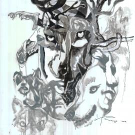 "Nomadic Ancestor (2012), acrylic and indian ink on vellum, 34""x40"""