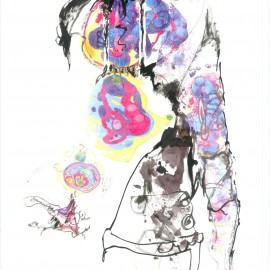 """Thought Vomit (2012), mixed media on paper, 18.5""""x24"""""""
