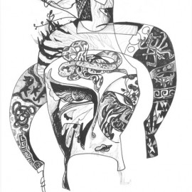 """Dreamer (2012), indian ink on paper, 18.5""""x 24"""""""