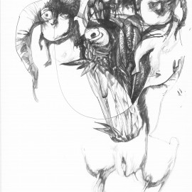 """Mother Spirit (2012), indian ink on paper, 18.5""""x 24"""""""