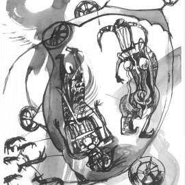 """The Travelers (2012), indian ink on paper, 18.5""""x 24"""""""