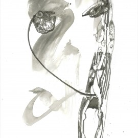 """Conversation between man and penis (2012), indian ink on paper, 18.5""""x24"""""""
