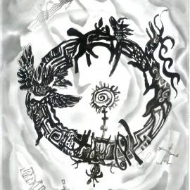 "Mandala (2012), indian ink on paper, 18.5""x24"""