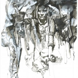 """Untitled (2012), indian ink on paper, 18.5""""x24"""""""