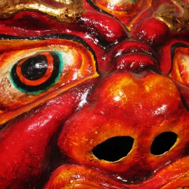"""Begze - detail, acrylic on paper maché, hand beaded ornaments, horsehair, khadag (various colored silk) 35""""x39""""x9"""""""