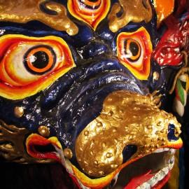 "Yama - detail, acrylic on paper maché, hand beaded ornaments, horsehair, 31""x39""x12"""