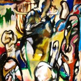 "Mother Stone (2008), acrylic on canvas, 48""x75"""