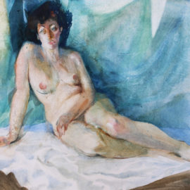 """Figure Study (1988), watercolor on paper, 48""""x36"""""""