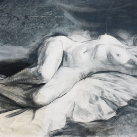 """Figure Study (1988), graphite and chalk on paper, 48""""x36"""""""