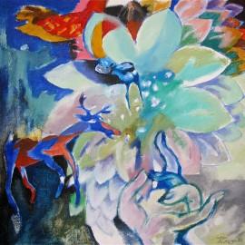 "Lotus (2011), acrylic on canvas, 17""x15"""