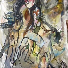 "Nomad Family (2011), acrylic on canvas, 48""x76"""