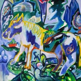 "Blue Horseman (2011), acrylic on canvas, 34""x35.5"""