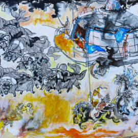 """The Movement of Ancient Mongolian Nomads (2015), acrylic on board, 16""""x20"""""""