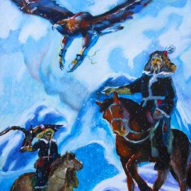 "The Eagle Falcon Hunters (2014), acrylic on canvas, 16""x20"""