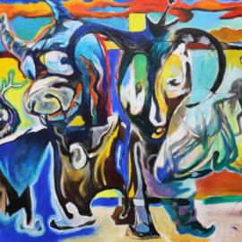 """Dancers (2017), Acrylic on Canvas, 48""""x76"""""""