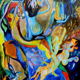 """Tears of the Blue Sky (2017), Acrylic on Canvas, 48""""x76"""""""