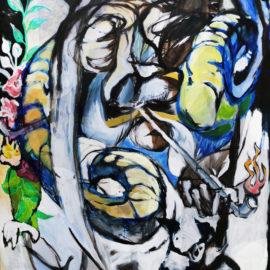"Ancestor Spirit Wisdom (2018), Acrylic on Canvas, 40""x 60"""