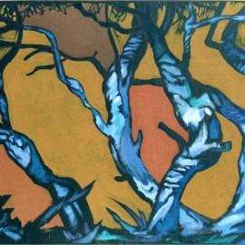 "Dull Evening (2002), acrylic on board, 47""x36"""