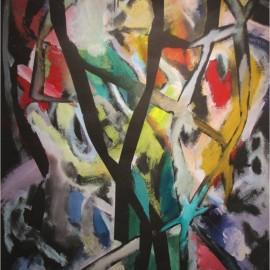 "Composition II (2002), acrylic on paper, 35""x53"""