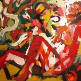 "Homogeneous Beginnings (2007), acrylic on paper, 53""x36"""