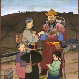 """Mongolian Traditional Games (1985), gouache on canvas, 17""""x24"""""""