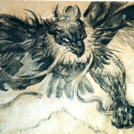 """Mythical Bird (Four Powers Series) (2000), charcoal on paper, 34""""x24"""""""