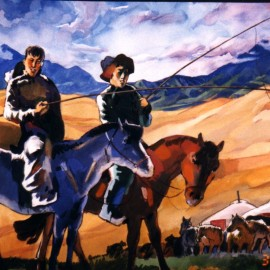 "Malchin (1999), watercolor on paper, 36""x24"""