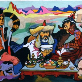"""Mongol Baatar (1999), watercolor on paper, 36""""x24"""""""
