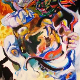 "Pacifier (2008), acrylic on canvas, 48""x75"""