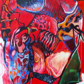 """A Love Story (2019), acrylic on canvas, 48""""x76"""""""