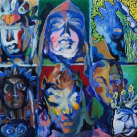 "God Masks (2014), acrylic on vellum, 30""x40"""