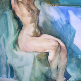 """Figure Study (1988), watercolor on paper, 36""""x48"""""""