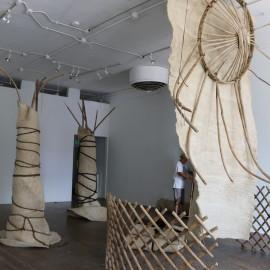 Mongolian Yurt Installation (2015), ancient Turkic Mongolian yurt dissembled: set of felts, set of huns (roof rafters), yurt wall, goat hair braided ropes