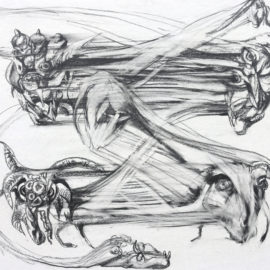 """Nomadic Ghosts (2016), pencil on paper, 19""""x25"""""""