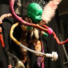 "Alien (2020), Textile, Fabric, Fur, Plastic Doll, 36""x19""x12"""